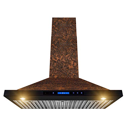 AKDY Wall Mount Range Hood – Embossed Copper Hood Fan for Kitchen – 4-Speed Professional Quiet Motor – Premium Touch Control Panel – Elegant Vine Design – Dishwasher Safe Baffle Filters (36 in.)