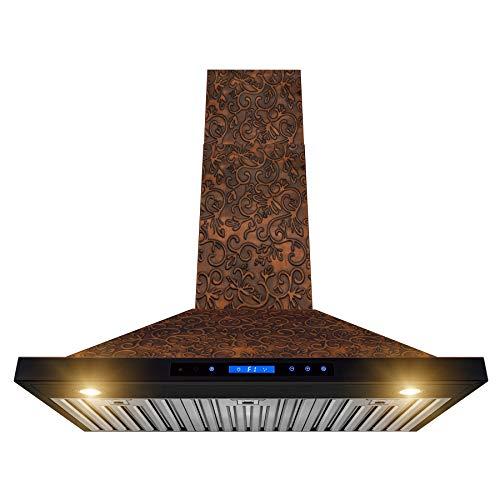 AKDY Wall Mount Range Hood – Embossed Copper Hood Fan for Kitchen – 4-Speed Professional Quiet Motor – Premium Touch Control Panel – Elegant Vine Design – Dishwasher Safe Baffle Filters (36 in.)