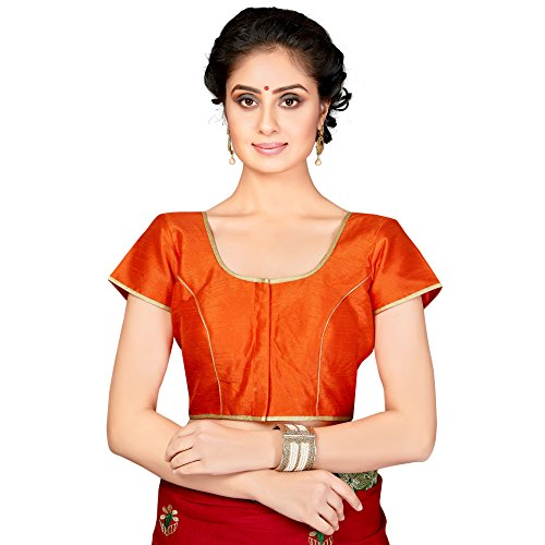 TrendyFashionMall Readymade Gold Border Saree Blouse Tofa (Orange Border Check)
