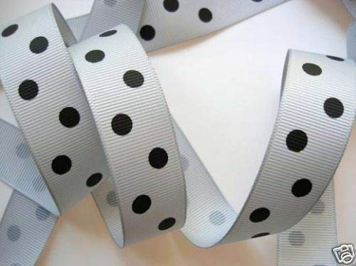 5 Yard Polka Dippy Dot Grosgrain 7/8 Ribbon/23mm/Craft/Supply Grey/Black #ID-600
