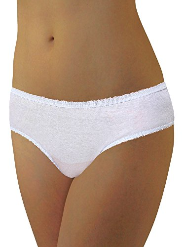 Womens Disposable 100% Cotton Underwear - for Travel- Hospital Stays- Emergencies White med-10pk