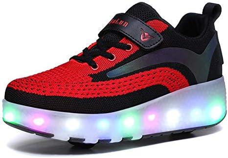 LED Lights Up Wheel Roller Skate Zapatos con calcetín, retráctil automático Skateboarding Técnico Patines Divertidos Cross Trainers Intermitente Multisport Outdoor Running Gymnastics Sneakers,Rojo,27: Amazon.es: Hogar