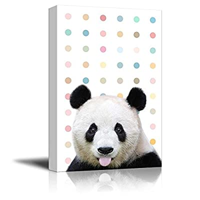 Peekaboo Animals Canvas Wall Art - Cute Panda Sticking Its Tongue Out on Colorful Dots Background - Gallery Wrap Modern Home Art | Ready to Hang - 12x18 inches