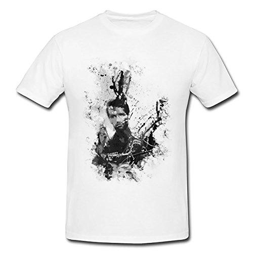 Predator Arnold Schwarzenegger Art T-Shirt Herren, weiß mit Aufdruck