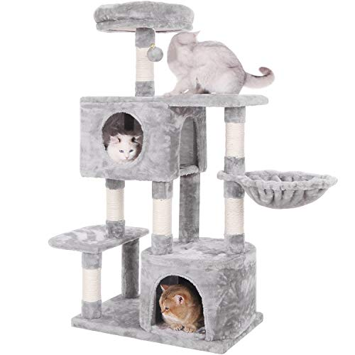 BEWISHOME Multi-Level Cat Tree with Sisal Scratching Posts, Perches, Houses and Basket, Cat Tower Cat Condo Furniture Kitty Activity Center Kitten Play House Light Grey ()