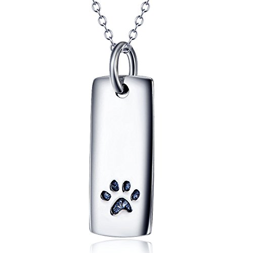 Rectangle Advertising Magnets (Ddang - Sterling Silver Rectangle with Puppy Paw Print Forever Love Necklace Pet JEW 0303)
