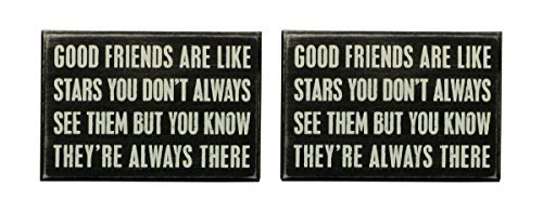 Primitives by Kathy Good Friends, Wooden Box Sign Set of 2, 6