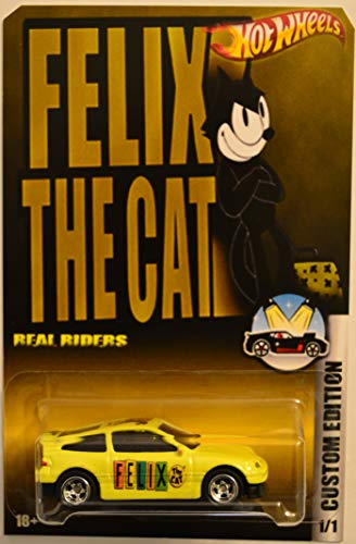 Honda Crx Cat - Hot Wheels Compatible Honda CRX Yellow Custom-Made Real Rider Rubber Wheels Felix The Cat Series 1:64 Scale Collectible Die Cast Model Car