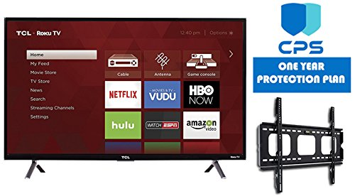 TCL 32S305 32-Inch 720p Roku Smart LED TV (2017 Model) (Certified Refurbished) + Wall Mount Bracket + 1 Year CPS Warranty