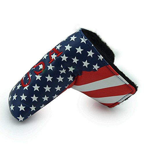 BleuMoo 1Pcs Golf Putter Blade Covers For Golf Scotty Cameron Putter USA Flag Embroidery Headcover