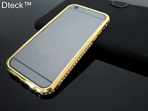 iPhone 6 Case, Dteck(TM) Ultra Thin [Metal Frame] with Deluxe Bling Diamonds Crystal Rhinestone Design [Aluminum Bumper] Smart Bumper Matte Finished Cover for iPhone 6 4.7 inch (04 Gold)