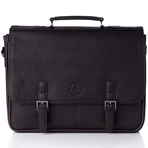 "Flap Over Structured Briefcase - Hammer Anvil Pierce Colombian Vacquetta Leather 17"" Laptop Briefcase Brown"