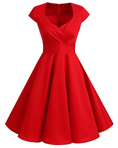 (Bbonlinedress Women Short 1950s Retro Vintage Cocktail Party Swing Dresses Red)