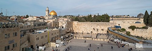 People praying at at Western Wall with Dome of the Rock and Al-Aqsa Mosque in the background Old City Jerusalem Israel Poster Print by Panoramic Images (18 x 6)