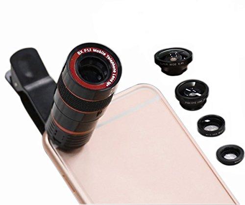 MYTK Clip-On 5 in 1 Smartphone Objektiv, Kamera Zubehör für Ihr Smartphone (8x Zoom Teleskop / 180 Grad Fischauge / 0.65X Weitwinkel / 10X Makro / 0.4x Super Weitwinkel) mit Mikrofaser-Tragetasche