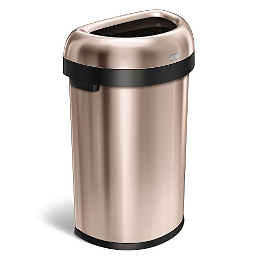 simplehuman Semi-Round Open Top Trash Can, Commercial Grade, Heavy-Gauge Rose Gold Stainless Steel, 60 L / 16 (Ada Compliant Rose)
