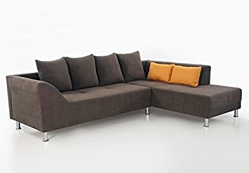 Polsterecke Ava 266x194cm Braun Mikrofaser Ecksofa Couch Sofa