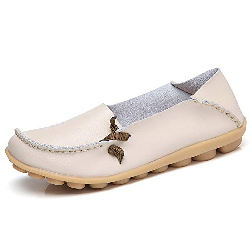 Lucksender Womens Soft Leather Comfort Driving Loafers Shoes 8B(M) US ()