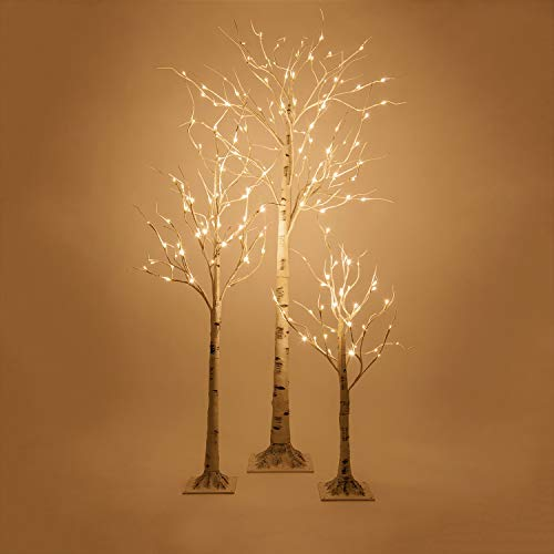 Kringle Traditions Warm White LED Birch Tree Lit Tree Décor – White Artificial Birch Tree (3 Ft, 36 Warm White LED Lights) by Kringle Traditions (Image #4)