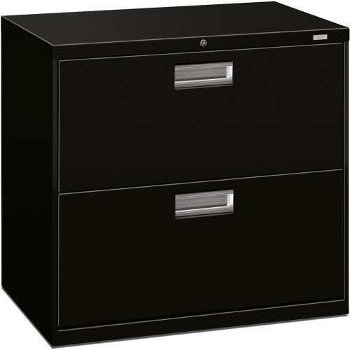 HON Brigade 2-Drawer Filing Cabinet - 600 Series Lateral Metal File Cabinet, 30''W by 19-1/4''D, Black (H672)