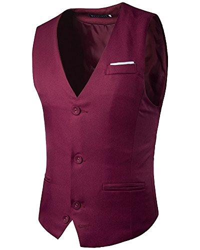Manche Casual Veste Sans De Homme Business Vin Mariage Shifan Costume Rouge Gilet wf4YqI