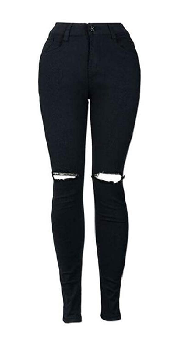 Cromoncent Women Stretch Slim Fit Trousers Ripped Jeans High Waisted Denim Pants