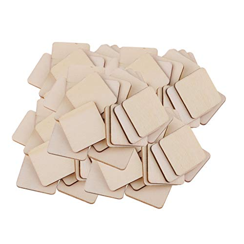 Baosity Wholesale 100 Pieces Square/Rectangle Shapes Blank Wood Pieces MDF Sheets for Crafts, Models & Pyrography Wood Plaque Sign DIY Woodburning Materials - 34x34mm