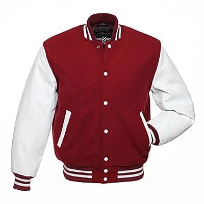 C109 Cardinal Wool White Leather Varsity Jacket Letterman Jacket