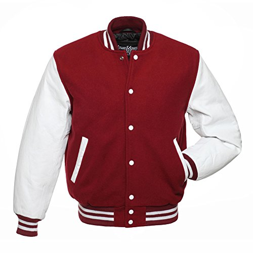 (Varsity Letterman Jacket - Cardinal Wool & White Leather - Medium)
