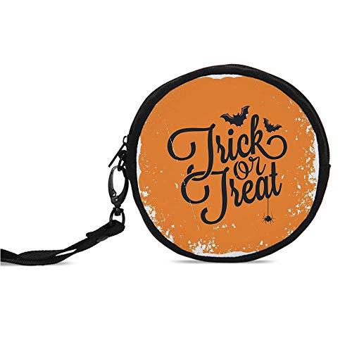 Vintage Halloween Durable Round Coin Purse,Trick or Treat Halloween Theme Celeb