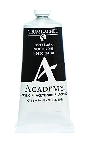 Grumbacher Academy Acrylic Paint, 90ml/3 oz Metal Tube, Ivory Black