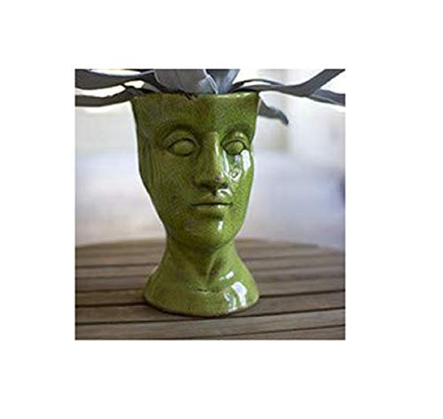 Kalalou Ceramic Head Planter, One Size, Green