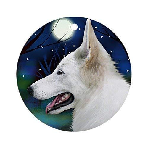 Dozili Christmas Decoration White German Shepherd Dog Moon 3 inch Ceramic Ornaments Merry