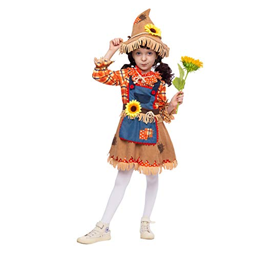 Kids Scarecrow Costumes (Sunflower Sweet Scarecrow Costume for Girls Kids Farmer (Small (5-7 yr)))