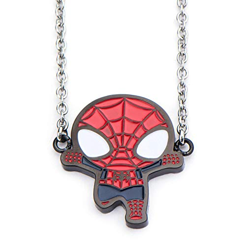 Marvel Comics Unisex Adult Spider Man Black IP Pendant Necklace with Stainless Steel Chain, Silver/Red, One Size]()