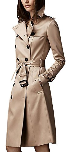 Ilishop Women's Elegant Jacket Silm Long Trench Coat Khaki L-US4-6