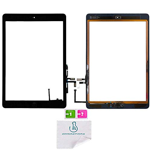 Housing Digitizer - OmniRepairs Touch Screen Glass Digitizer Assembly Replacement with Home Button, Rubber Gasket and Camera Bracket Compatible for iPad Air 1st Generation with Pre-Installed Adhesive Tape (Black)