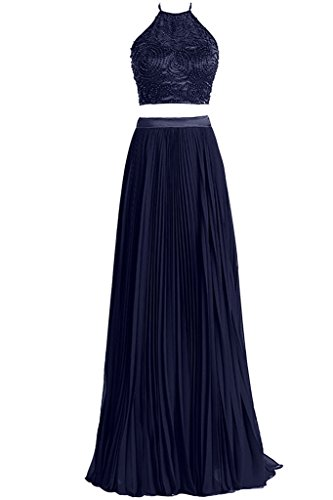 Dresstore Women's 2 Pieces Beaded Top Pleated Skirts Halter Prom Dresses Navy Blue US 6