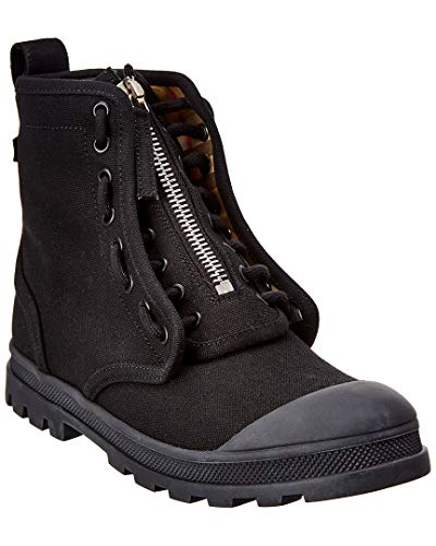 BURBERRY Leather Military Boot, 40, - Burberry Leather Black