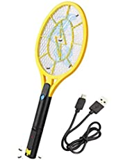Electric Mosquito, Fly Killer,Bug Zapper Racket - 3800 Volt, Rechargeable USB, Bright LED Light to Zap in The Dark - Unique 3-Layer Safety Mesh That's Safe to Touch,Kills Insects,(1PACK)