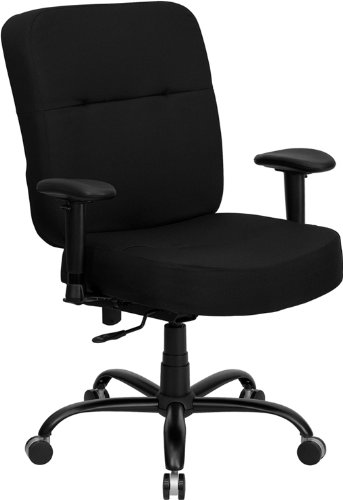 Flash Furniture HERCULES Series Big & Tall 400 lb. Rated Black Fabric Executive Swivel Chair with Adjustable - Back Chair High Pneumatic Series