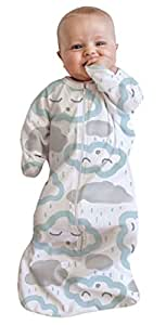 Baby Studio All in One Cotton Cloud Swaddle Bag for 0-3 Month Babies, Clouds Peppermint