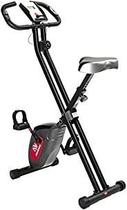 ADVENOR Exercise Bike Magnetic Bike Folding Fitness Bike Cycle Workout Home Gym with LCD Monitor Durable Uprig