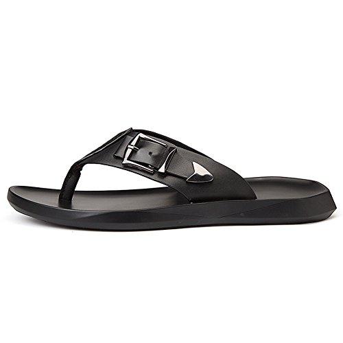 para Slide Cuero Playa Chanclas Hombre Negro Slippers Negro Beach Piscina Pool xTX0qwdTB