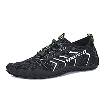 UBFEN Mens Womens Water Shoes Aqua Shoes Swim Shoes Beach Sports Quick Dry Barefoot for Boating Fishing Diving Surfing with Drainage Driving Yoga Upstream Black Size: 5.5 Women/4 Men