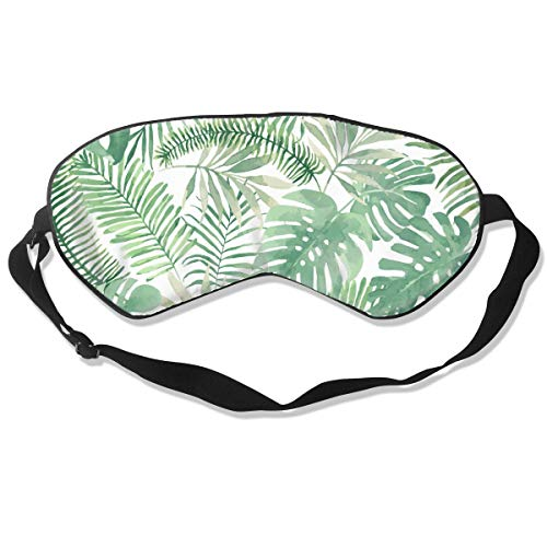 NiYoung Natural Silk Eye Mask Block Out Light, Smooth Comfortable Blindfold Sleep Mask for Sleeping/Travel/Shift Work/Naps/Night Eyeshade, Women Men Mauritius Green Leaves Eye Cover