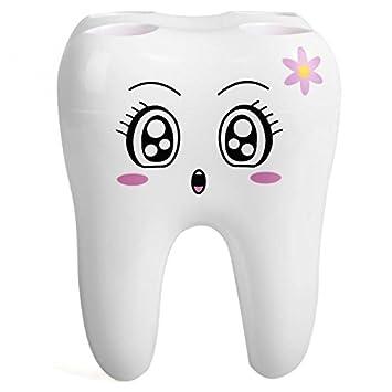 Bei wang blanco 4 agujeros moda diente estilo soporte para cepillos de dientes soporte de plástico recipiente para baño: Amazon.es: Hogar