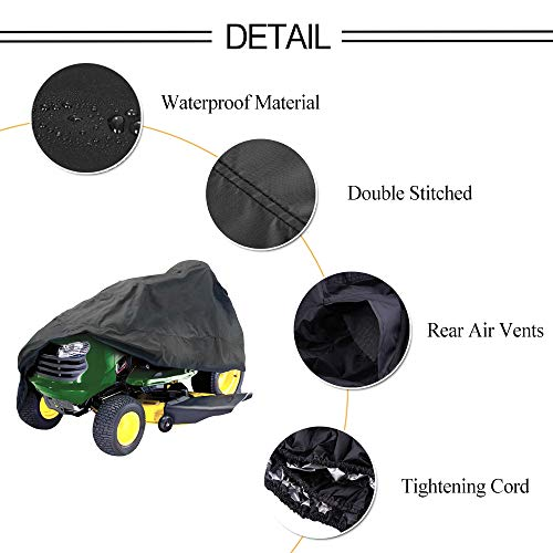 "HOMEYA Lawn Mower Cover, DiDaDi Waterproof Riding Mower Cover Heavy Duty Mildew Resistant UV Protection Tractor Covers with Drawstring Universal Fits Decks up to 54"" & Storage Bag – Black"