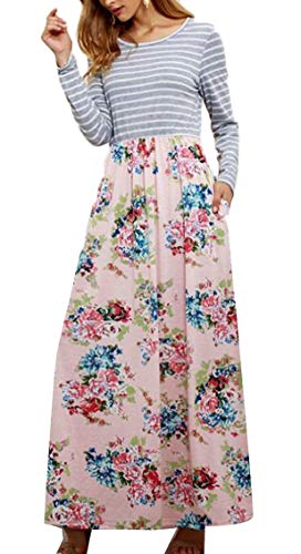 Sleeve Long Jaycargogo Long Floral Print Dress Pink Casual Stripe Womens n0OUOPE