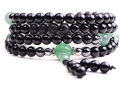 Onyx Bracelet - Prayer Beads - Anxiety Bracelet - Wrap Bracelet - Mala Beads - Tibetan ()